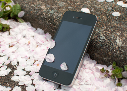iPhone outside with flowers